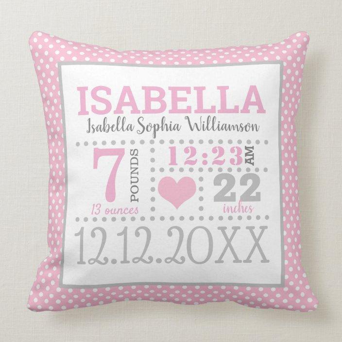 baby girl birth announcement throw pillow zazzle com