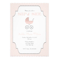 Baby Girl Chevron Baby Sip and See Invitation