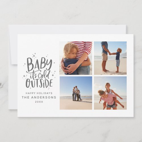 Baby its cold outside multiphoto Christmas holiday Save The Date