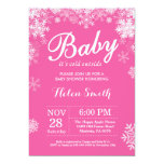 Baby its Cold Outside Winter Pink Girl Baby Shower Invitation