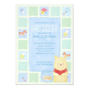 Baby Pooh and Hunny Baby Shower Invitation