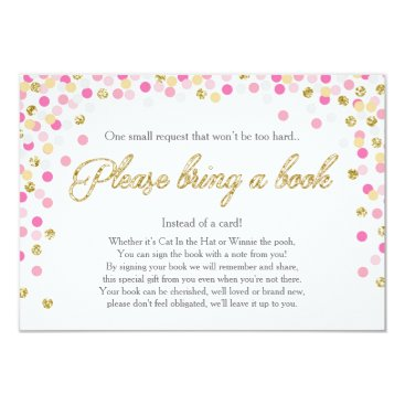 Baby Shower Bring a book Pink Gold Glitter Girl Invitation