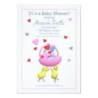 Baby Shower Chicks Hearts Basket Card