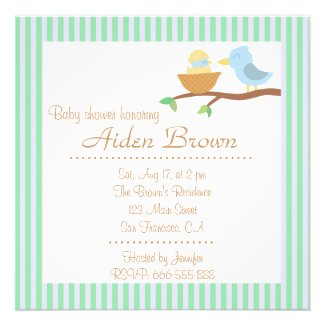 Baby Shower: Cute blue bird with just hatched baby Personalized Invitations