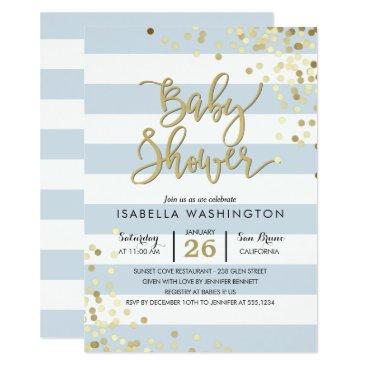 Baby Shower | Elegant Gold Confetti & Blue Stripes Invitation