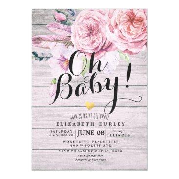 Baby Shower Elegant Watercolor Floral Rustic Wood Invitation