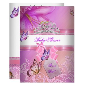 Baby Shower Girl Pink Purple Princess Butterfly 2 Card