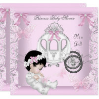 Baby Shower Girl Princess Carriage Butterfly Card