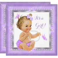 Baby Shower Girl Purple Pearl Butterfly Blonde Card