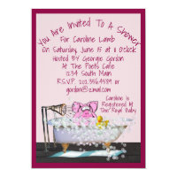 Baby Shower Invitation w/Cute Pig In Pink