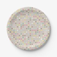 Baby Shower Pastel Polka Dot Paper Plate | Zazzle