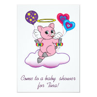 Baby Shower: Pig Angel on Cloud with Balloons Card