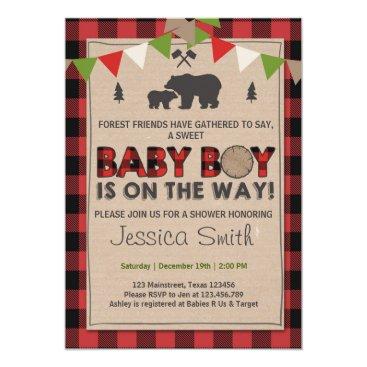 Baby Shower Rustic Lumberjack Baby boy shower Invitation