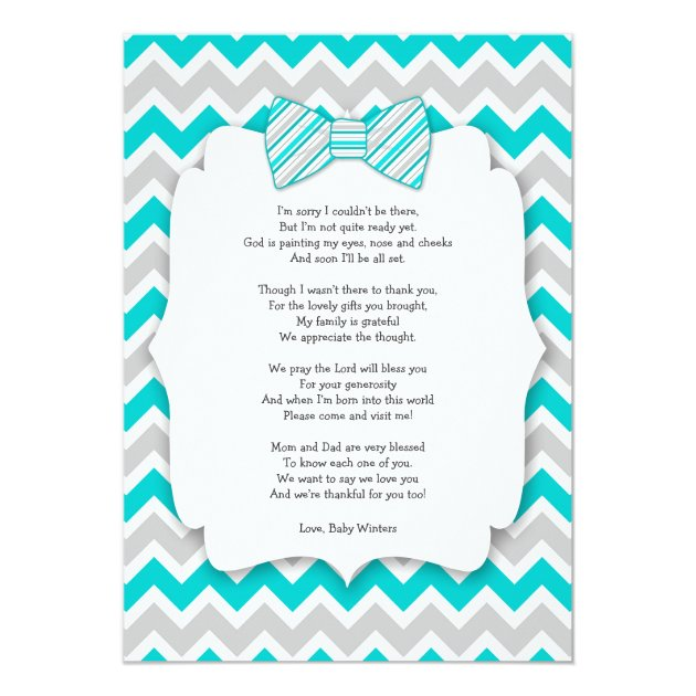 Baby Shower Thank You Notes With Poem Turquoise Card