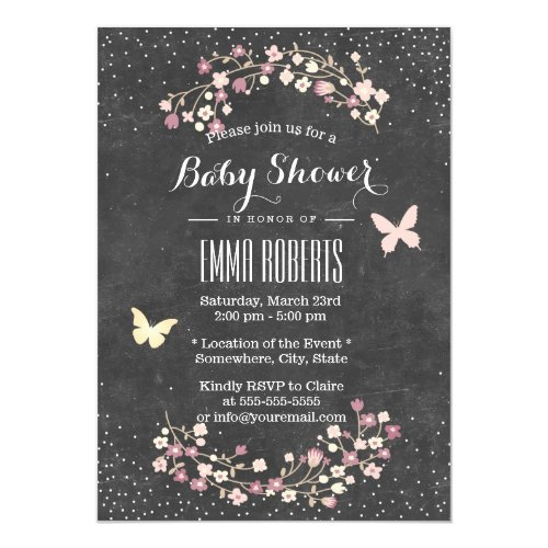 Baby Shower Vintage Chalkboard Butterfly & Flowers Invitation
