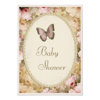 Baby Shower Vintage Pearls Lace Roses Butterfly Card