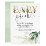Baby sprinkle gender neutral greenery gold invitation