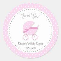 Baby Stroller Baby Shower Sticker Pink | Zazzle.com
