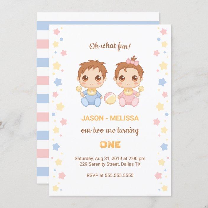 baby twins boy girl first birthday invitation zazzle com