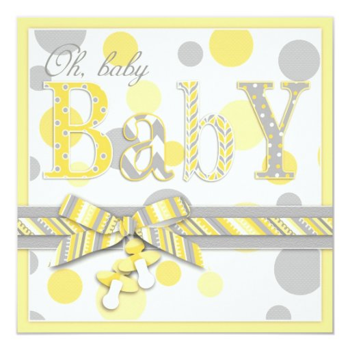 Baby yellow gray dots baby shower 5 25x5 25 square paper invitation