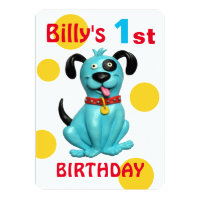 Baby's 1st Birthday Party Cute blue Puppy Dog Boy Card