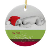 Baby's 1st Christmas Custom Ornament (green) ornament