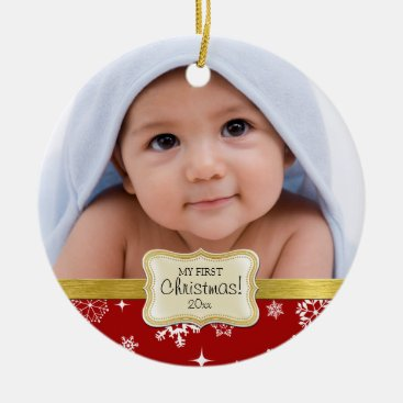 Baby's 1st Christmas. White and Red Snowflakes Ceramic Ornament