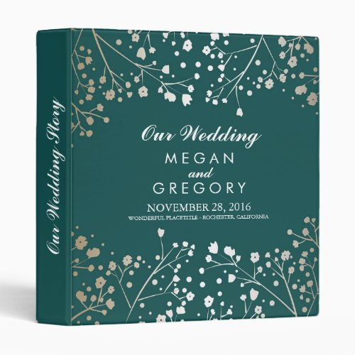 Baby&#39&#x3B;s Breath Gold and Teal Wedding 3 Ring Binder