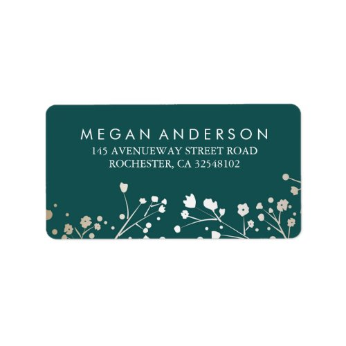 Baby&#39&#x3B;s Breath Gold and Teal Wedding Label