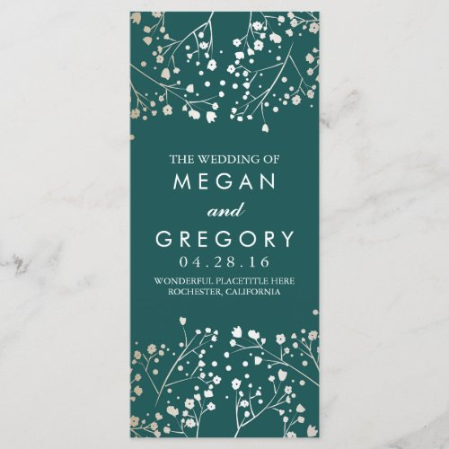 Baby&#39&#x3B;s Breath Gold and Teal Wedding Programs