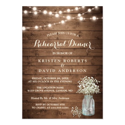 Baby&#39&#x3B;s Breath Jar String Lights Rehearsal Dinner Invitation