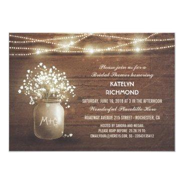 Baby's Breath Mason Jar Lights Bridal Shower Invitation