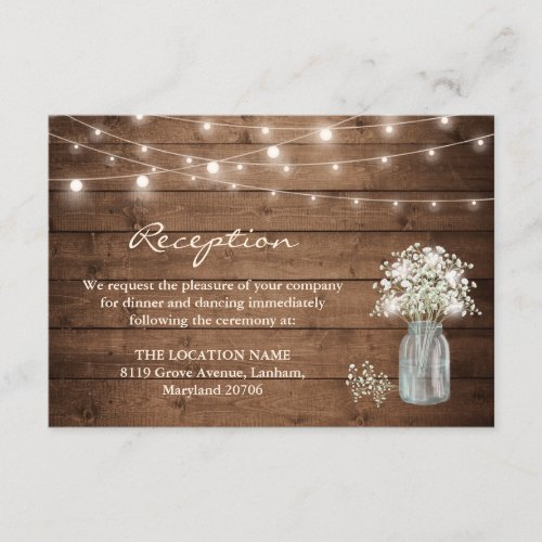 Baby's Breath Mason Jar Lights Wedding Reception Enclosure Card