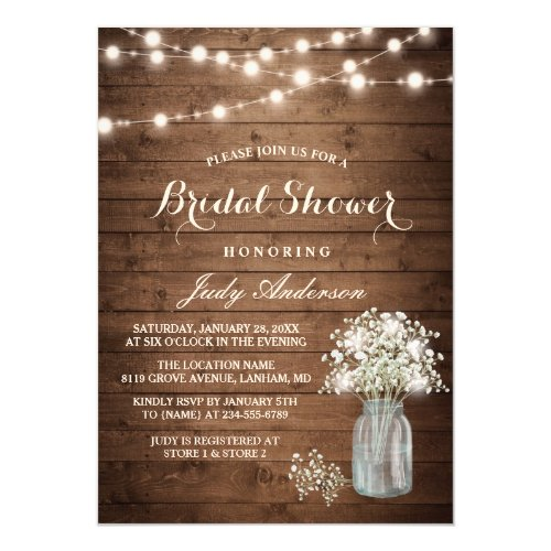 Baby&#39&#x3B;s Breath Mason Jar Rustic Wood Bridal Shower Invitation