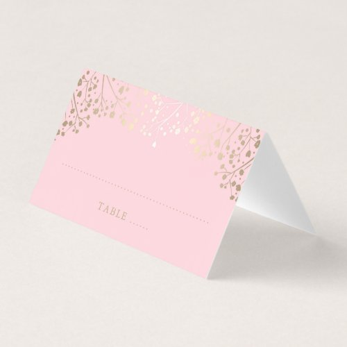 Baby&#39&#x3B;s Breath Pink and Gold Wedding Place Card