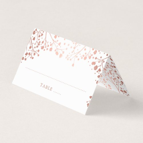 Baby&#39&#x3B;s Breath Rose Gold Foil Effect Wedding Place Card