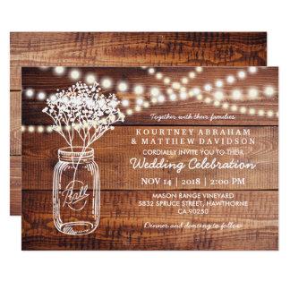 Baby 39 S Breath Rustic Country Mason Jar Wedding Card