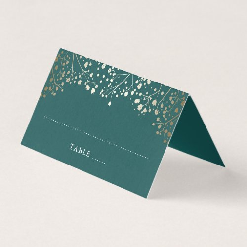 Baby&#39&#x3B;s Breath Teal and Gold Wedding Place Card