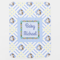 Baby's Name Blue English Bulldog Swaddle Blanket