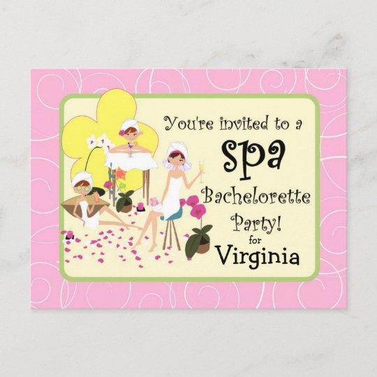bachelorette party spa postcard