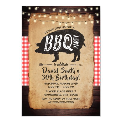 Backyard BBQ Birthday Party Rustic String Lights Invitation