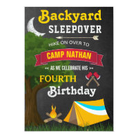Backyard Sleepover Camping Birthday Party Invite