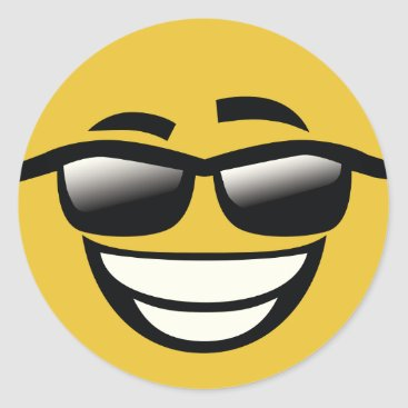 Bad to the Bone cool guy Emoji Classic Round Sticker