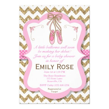 Ballerina Baby Shower Invitation- Baby Girl Card