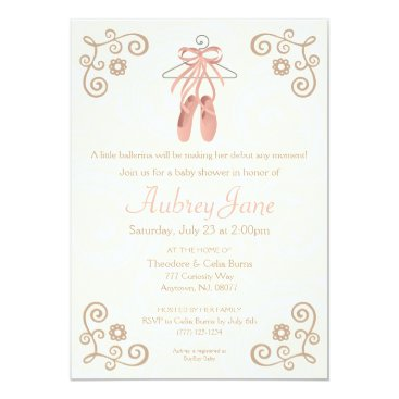 Ballerina Shoes Ballet Baby Girl Shower Invitation