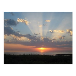 Baltic Sea Sunset with Rays of Light Postcard