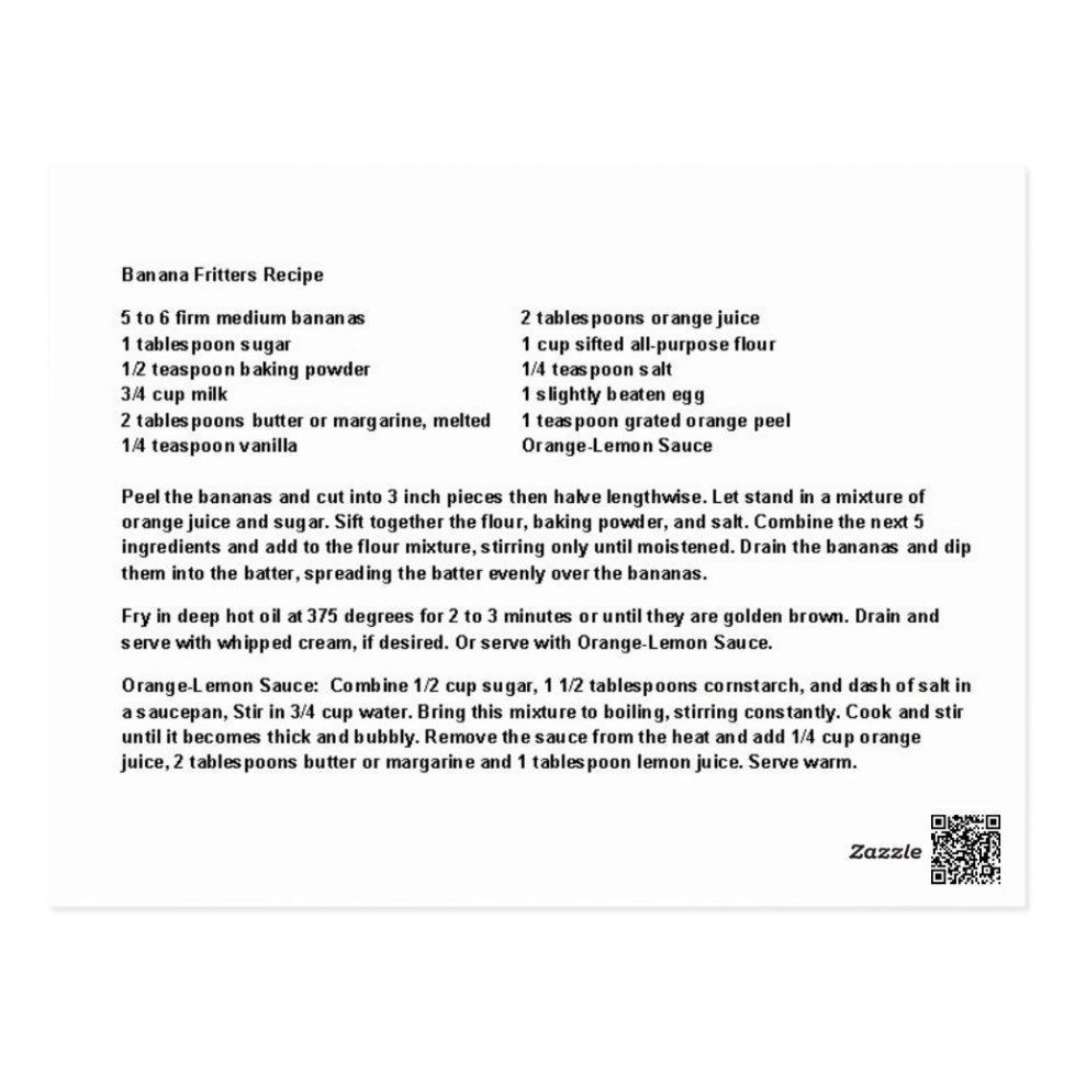 Banana Fritters  Recipe Postcard