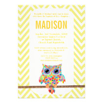 Baptism Christening Chevron Rainbow Owl Invite