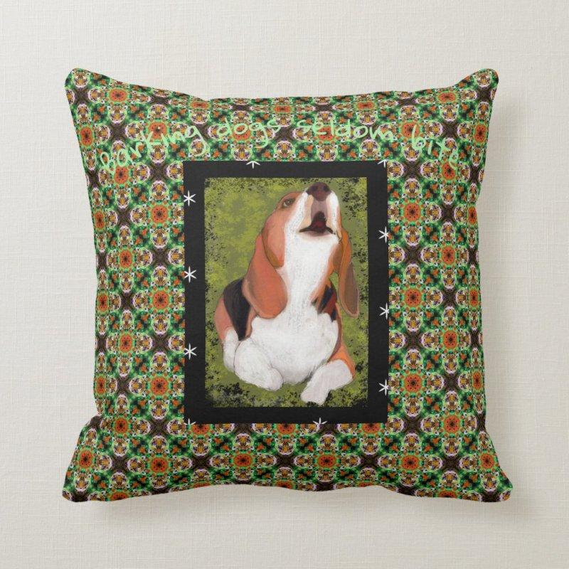 Barking Dogs Seldom Bite Beagle on Green Plaid Throw Pillow