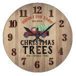 Barn Wood - Farm Fresh 🎄 Christmas Trees Large Clock
